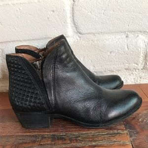 Lucky Brand Brenon Leather Ankle Booties Zip Up